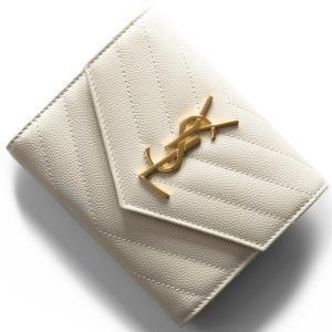 11f591462136 サンローランパリ イヴサンローラン 三つ折り財布 財布 レディース モノグラム YSL クリームソフトホワイト 403943 BOW01 9207  SAINT LAURENT PARIS