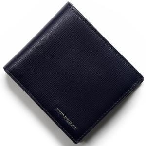 バーバリー 二つ折財布 ロンドン LONDON ダークネイビ...