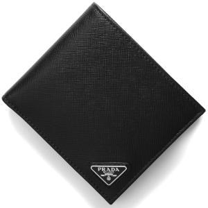 プラダ 二つ折財布 SAFFIANO TRIANG ブラック...
