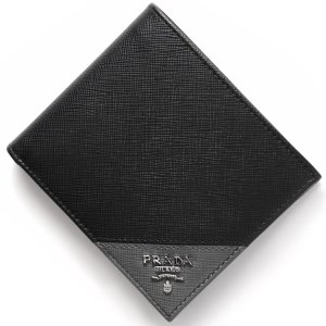 プラダ 二つ折財布 SAFFIANO METAL ブラック ...