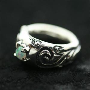 ピンキーリング シルバー 指輪 刻印  10月 誕生石 オパール Clouds 星雲 1号 3号|bluelace
