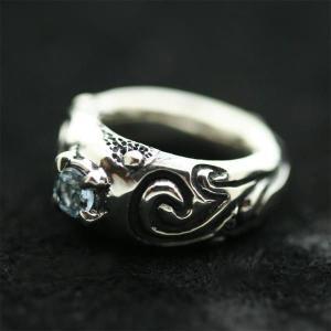 ピンキーリング シルバー 指輪 刻印  3月 誕生石 アクアマリン Clouds 星雲 1号 3号|bluelace