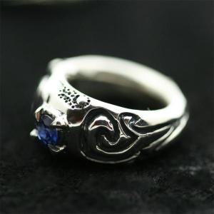 ピンキーリング シルバー 指輪 刻印  9月 誕生石 サファイア Clouds 星雲 1号 3号|bluelace