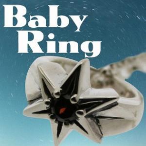 ベビーリング 刻印 指輪 出産祝い  ガーネット 1月 誕生石 星 STAR 七五三 ギフト|bluelace