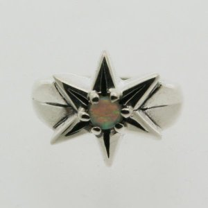 ピンキーリング シルバー 指輪 刻印  10月 誕生石 オパール STAR 星 1号 3号|bluelace