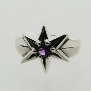 ピンキーリング シルバー 指輪 刻印  2月 誕生石 アメジスト STAR 星 1号 3号|bluelace