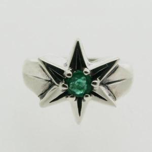 ピンキーリング シルバー 指輪 刻印  5月 誕生石 エメラルド STAR 星 1号 3号|bluelace