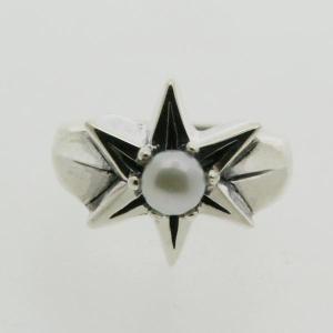 ピンキーリング シルバー 指輪 刻印  6月 誕生石 パール 真珠 STAR 星 1号 3号|bluelace
