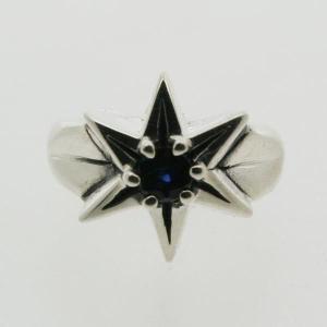 ピンキーリング シルバー 指輪 刻印  9月 誕生石 サファイア STAR 星 1号 3号|bluelace