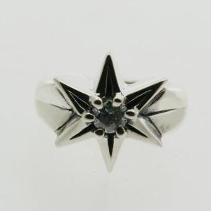 ピンキーリング k18 指輪 小指 ホワイトゴールドリング レディース 4月 誕生石 ダイヤモンド STAR 星 18金WG|bluelace