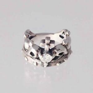 ピンキーリング K18 指輪 小指 ホワイトゴールド 刻印  4月 誕生石 ダイヤモンド クラウン 王冠 1号 3号|bluelace