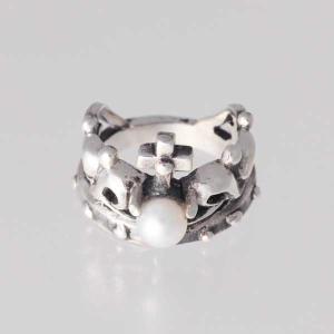 ピンキーリング シルバー 指輪 刻印  6月 誕生石 パール 真珠 クラウズ 王冠 1号 3号|bluelace
