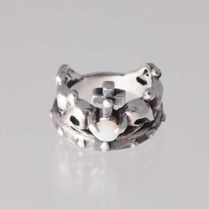 ピンキーリング シルバー 指輪 刻印  10月 誕生石 オパール クラウズ 王冠 1号 3号|bluelace