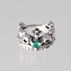 ピンキーリング シルバー 指輪 刻印  5月 誕生石 エメラルド クラウズ 王冠 1号 3号|bluelace
