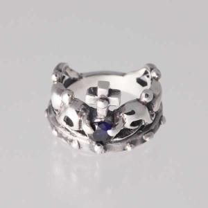 ピンキーリング シルバー 指輪 刻印  9月 誕生石 サファイア クラウン 王冠 1号 3号|bluelace