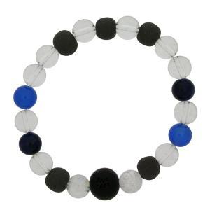 パワーストーン ブレスレット 天然石 ゴム ブラックシリカ|bluelace