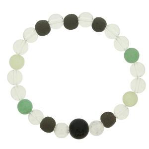 ブラックシリカ ブレスレット 和風 水晶 天然石ブレス グリーン 大 流石の黒石 メンズ 男性用|bluelace