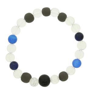 ブラックシリカ ブレスレット 和風 水晶 天然石ブレス ブルー 大 流石の黒石 メンズ 男性用|bluelace
