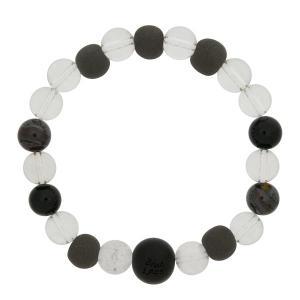 ブラックシリカ ブレスレット 和風 水晶 タイガーアイ 天然石ブレス ブラック 大 流石の黒石 メンズ 男性用|bluelace