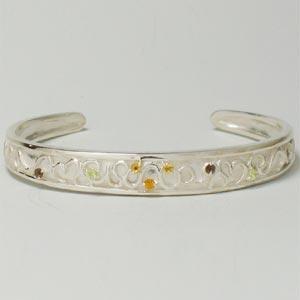 シルバーブレスレット ハートのバングル 黄色系天然石 シトリン イエロー 刻印可 silver925 レディース 女性用|bluelace
