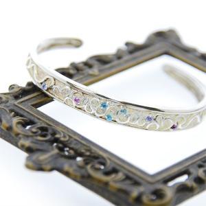 シルバーブレスレット ハートのバングル 天然石 ブルートパーズ ブルー 刻印可 silver925 レディース 女性用|bluelace