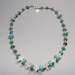 天然石ターコイズ(ブルー)&パールネックレス|bluelace