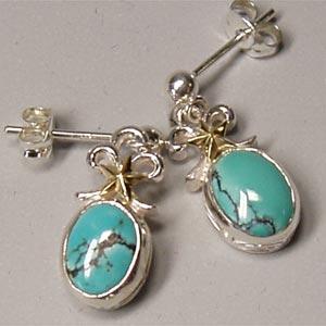 ピアス リボンのピアス 天然石 ターコイズ Venus ヴィーナス silver925 レディース 女性用|bluelace