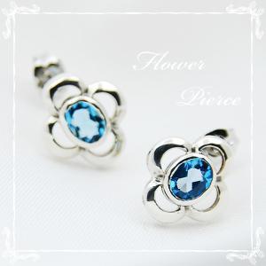 ピアス シルバーピアス 天然石 フラワーモチーフ hana 11月 誕生石 ブルートパーズ silver925 レディース 女性用|bluelace