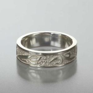 シルバーリング 指輪 刻印 唐草 アラベスク 平打ちリング 細|bluelace