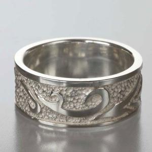 シルバーリング 指輪 刻印 メンズ 唐草 アラベスク 平打ちリング 太|bluelace