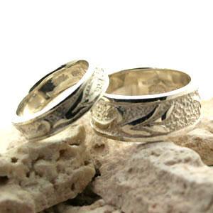 ペアリング シルバーリング 指輪 刻印 唐草 アラベスク 平打ちリング|bluelace