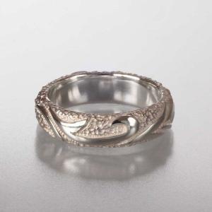 シルバーリング 指輪 刻印 唐草 アラベスク 甲丸リング 細|bluelace