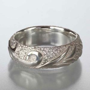 シルバーリング 指輪 刻印 メンズ 唐草 アラベスク 甲丸リング 太|bluelace
