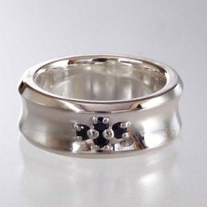 シルバーリング 指輪 刻印 クロス Cross Ditch Ring 太 ブラックジルコニア|bluelace