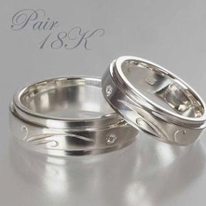ペアリング 刻印 ダイヤモンドリング 指輪 18k ホワイトゴールド レインドロップ 18金WG|bluelace