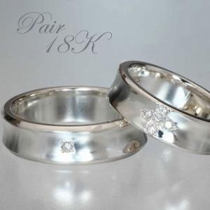 ペアリング 刻印 ダイヤモンドリング 18k ホワイトゴールド クロスダイヤ|bluelace