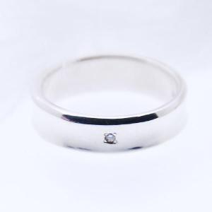 ダイヤモンドリング シルバーリング 刻印 指輪 メンズ クロスダイヤ 太 シルバー925