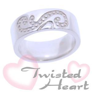 シルバーリング 指輪 刻印 ツイステッドハート 細 アラベスク|bluelace