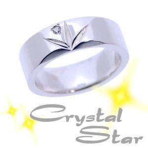 シルバーリング 指輪 ダイヤモンドリング 刻印 クリスタルスター レディースにおすすめ 細いタイプ|bluelace