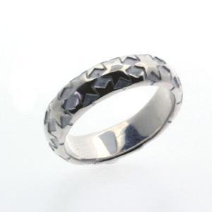 星 シルバーリング 指輪 刻印 甲丸リング メンズ レディース|bluelace