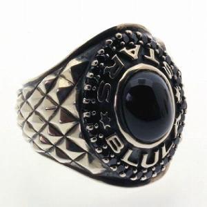 指輪 メンズ シルバーリング カレッジリング オーダーメイド ネームリング ブルレスター ダイオプサイト + ブラックキュービック|bluelace
