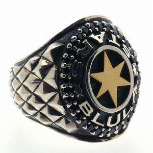 指輪 メンズ シルバーリング カレッジリング ブルレスター ゴールドスターブラックキュービック|bluelace