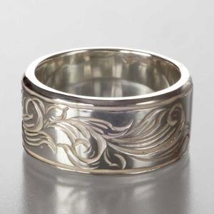 シルバーリング 指輪 刻印 アラベスク メンズ 唐草リング 太 NMモデル|bluelace
