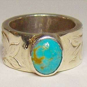 シルバーリング 指輪 刻印 アラベスク インディアンジュエリー ターコイズ NM|bluelace