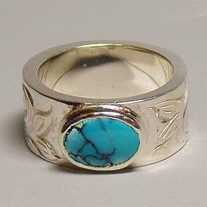 シルバーリング アラベスク インディアンジュエリー ターコイズ ブルー 横 NM 指輪|bluelace