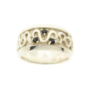 シルバーリング 指輪 刻印 天然石リング ブラック in my heart|bluelace