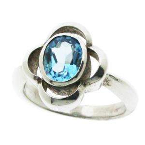 【11月の誕生石】ブルートパーズ シルバーリングhana ☆指輪