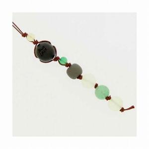 和風携帯ストラップI ブラックシリカ (グリーン) グリーンメノウ アベンチュリン|bluelace