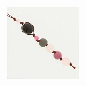 和風携帯ストラップI ブラックシリカ (ピンク) ローズクオーツ ロ−ドナイト|bluelace