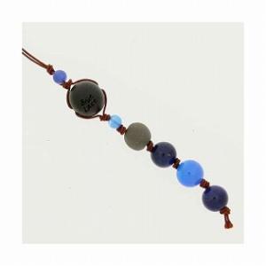 和風携帯ストラップI ブラックシリカ (ブルー) ブルーアゲイト ソーダライト|bluelace